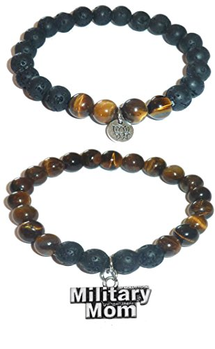 Bead Set Stretch Bracelet (Hidden Hollow Beads Charm Tigers Eye and Black Lava Natural Stone Women's Yoga Beaded Stretch Bracelet Set. COMES IN A GIFT BOX! (Military Mom))