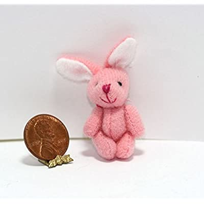 Dollhouse Miniature 1:12 Scale Soft Pink Jointed Easter Bunny Rabbit: Toys & Games