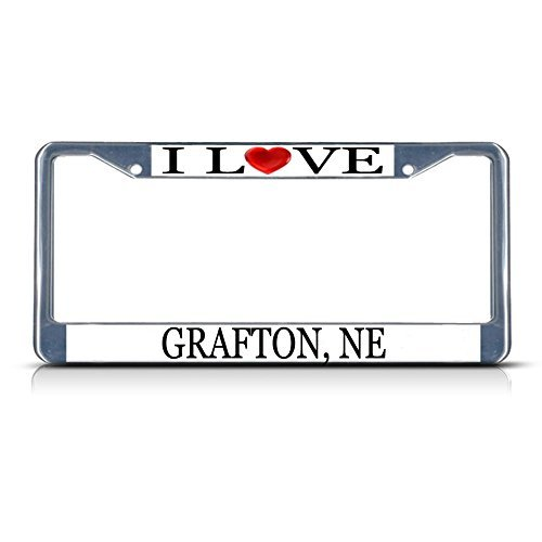 - Cukudy Car Auto Tag Holder Chrome I Love Heart Grafton Ne Aluminum Metal License Plate Frame Silver