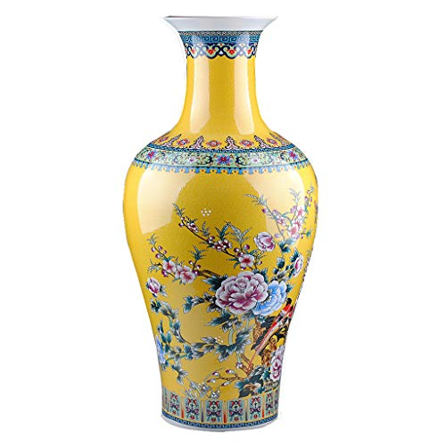 - Vase DIOE China Jingdezhen Ceramics, European Enamel Porcelain, Bird Flower, Floor Decoration Large Decoration, Flower Arrangement, Living Room Office Fashion Art Decoration