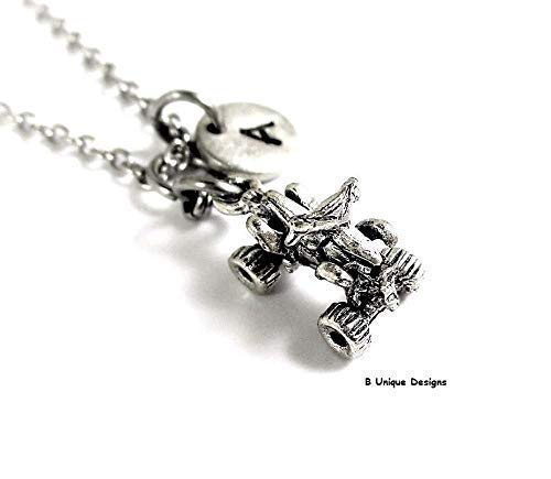(ATV Quad Recreation Vehicle Pendant Necklace Personalized Initial Women's Men's Jewelry 4 Wheeler Off Road Add Birthstone Crystal or Your Name Unisex)
