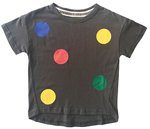 [ARRIBADA 7 Dark Gray Loose Fit Short Sleeve T-shirt with Polka Dots for Girls … (7, Dark Gray)] (Funny Make Your Own Costume Ideas)