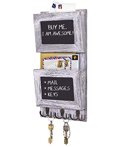 Rustic 2-Slot Mail Sorter Organizer for Wall with Chalkboard Surface & 3 Double Key Hooks - Wooden Wall Mount Mail Holder Organizer - Wall Décor for Entryway made of Paulownia Wood - Rustic White (For Home Key Hooks)