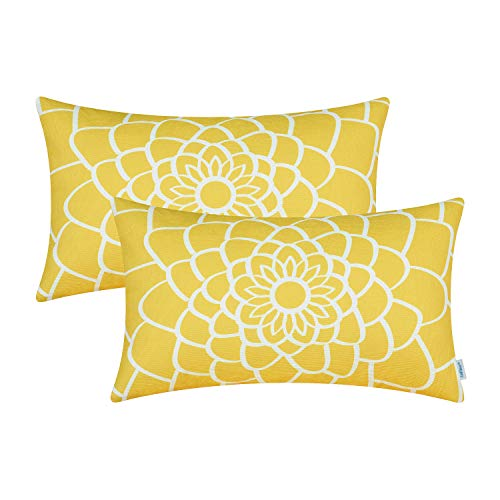 CaliTime Pack of 2 Soft Canvas Bolster Pillow Covers Cases for Couch Sofa Home Decor Dahlia Floral Outline Both Sides Print 12 X 20 Inches Maize Yellow ()