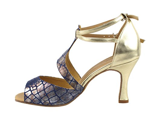 Very Fine Ladies Women Ballroom Dance Shoes EKSA7004 With 3 Heel With Heel Protectors Gold 5RBZR4K