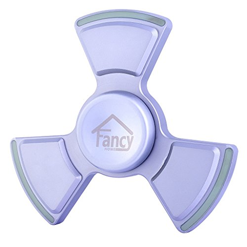 Fancy Home Anti-Anxiety Quiet Tri Fidget Hand Spinner EDC Toy for Relief from ADD ADHD, Anxiety and Boredom,Ceramic Bearing Last 5-8 Minutes Glow in The Dark Silver by Fancy Home (Image #6)