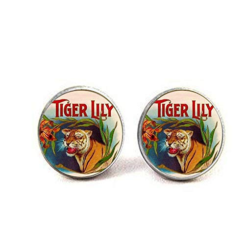 Tiger Lily Earring Wild Animal Vintage Colourful Tigers Head Jewelry Glass Photo Jewelry ()