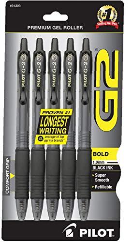PILOT G2 Premium Refillable & Retractable Rolling Ball Gel Pens, Bold Point, Black Ink, 5-Pack (31303) 2020 version