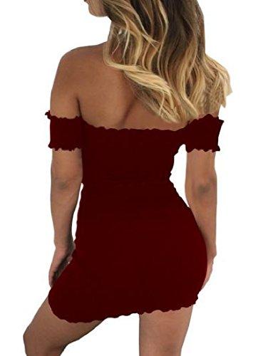 Club Bustier Femmes Coolred Solide Épaule Hors Mini-robe Moulante Rouge Vin
