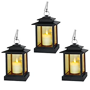 Decorative Candle Lanterns, Set of 3 Indoor and Outdoor Black Lanterns with LED Pillar Moving Wick Flameless Candles, 5 Hours Timer 21