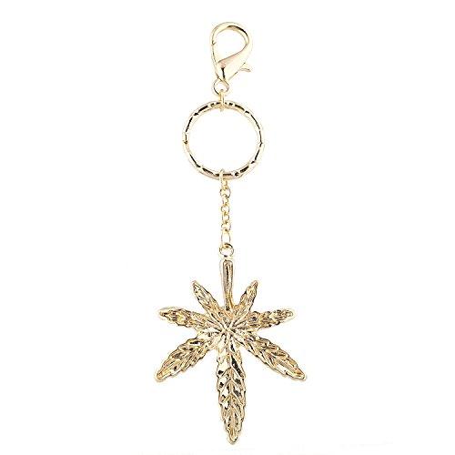 Lux Accessories Gold Tone Marijuana Weed Smoke Hippie Novelty Keychain Bag Charm