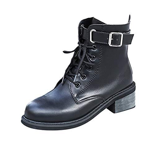 ❤ Botas Cortas para Mujer, Correa de Hebilla para Mujer Zapato Plano con Punta Redonda Antideslizante Tubo Corto Botas Knight Martin Absolute: Amazon.es: ...