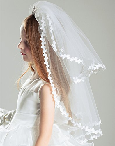 AliceHouse Girl's Two Layers Rhinestone Tiara Bridal Flower Girls Veil MGV09 by AliceHouse (Image #4)