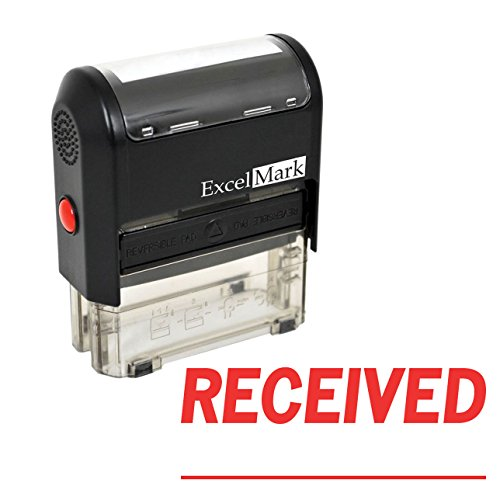 ExcelMark RECEIVED With Signature Line Self-Inking Rubber Stamp (A1539-Red Ink) (Line Signature)
