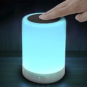 Tsing Lampe LED Rechargeable Multifonctionnelle Haut-parleur Enceinte Musique Bluetooth Veilleuse Intelligente avec Couleurs Changeantes pour Maison Camping