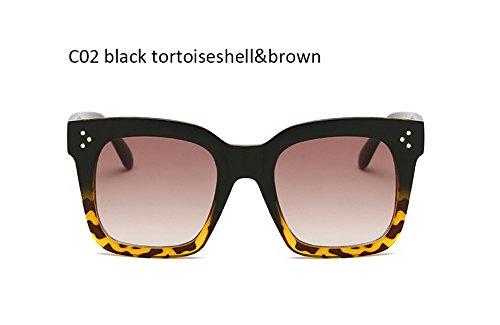 sol sol ZHANGYUSEN de Blackleopardbrown Gafas Vintage mujeres Blackgray señoras de Retro gafas cuadradas para femenino moda UV400 FwCEvwq