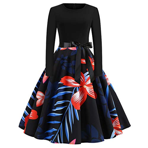 2018 Christmas Women's Holiday Vintage Black Evening Prom Costume Swing Dress,Girls 3/4 Sleeves Back Zipper Novelty Dress (F_Black, L)