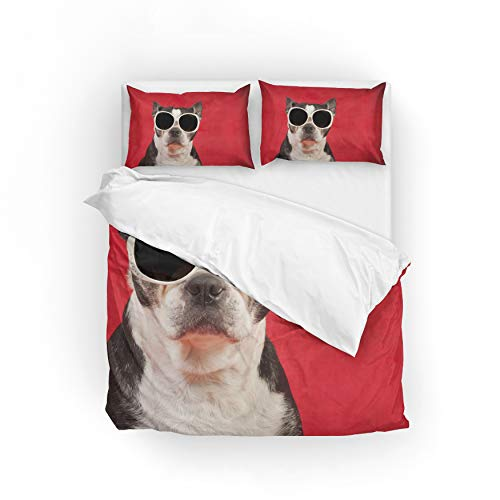 My Little Nest Duvet Cover Set Full Size Boston Terrier Dog Zipper Closure with 2 Pillow Case Microfiber Comfortable Durable