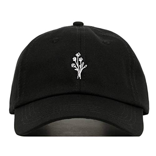 (Wildflower Baseball Hat, Embroidered Dad Cap, Unstructured Soft Cotton, Adjustable Strap Back (Multiple Colors) (Black))