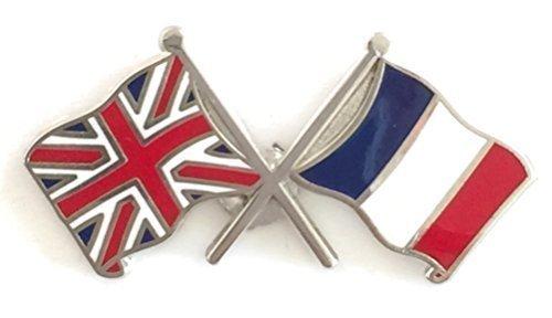 UNION JACK & FRANCE AMITIÉ DRAPEAUX NATIONAUX DOUBLE BADGE ÉPINGLETTE EN ÉMAIL Emblems-Gifts