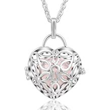 "EUDORA Harmony Bola Necklace Love Lock Music 20mm Chime Locket Pendant Heart-shape Wishing Ball, 30"""