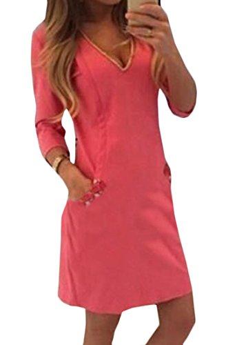 Confortables Femmes Bodycon Col V Couleur Pure 3/4 Parti Vogue Manches Mi Robe Rose Rouge