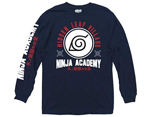 Ripple Junction Naruto: Shippuden Adult Unisex Ninja Academy Light Weight 100% Cotton Long Sleeve Crew T-Shirt LG Navy