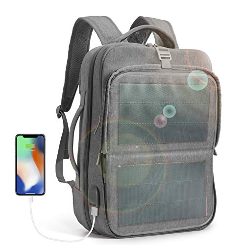 HANERGY Solar Powered Backpack Off-Grid 9W Thin Film Flexible Hidden Solar Panel Business Laptop Tablets Backpacks College School Bookbag Travel Messenger Bag (Gray) - with 2 USB Charging Port