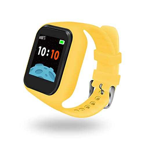 Smart Watch for Kids GPS Tracker - IP67 Waterproof Smartwatches with SOS Voice Chat Camera Alarm Clock Digital Wrist Watch Smartwatch Girls Boys Birthday Gifts (Yellow)