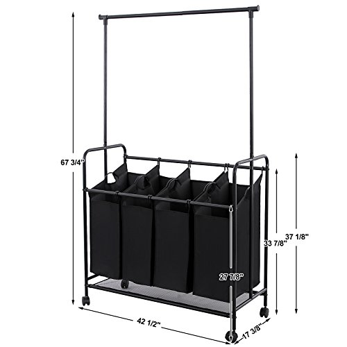 Songmics 4 Bag Rolling Laundry Sorter With Hanging Bar Import It All