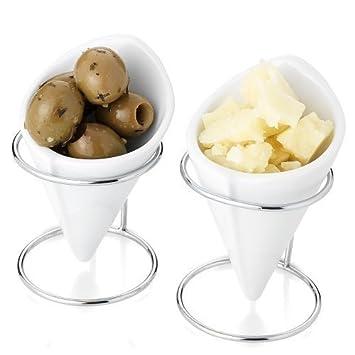 Conos de Cerámica x 2 para Picar Ideales para Aceitunas, Aderezos, Salsas, Amuse Buche: Amazon.es: Hogar
