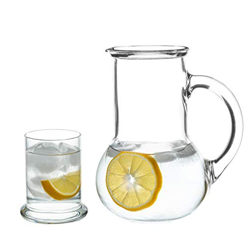 Bedside Night Carafe with Tumbler Drinking Glass, 2 Piece Set for Water, Beverage, Ice Tea (Bedside Glass And Pitcher)