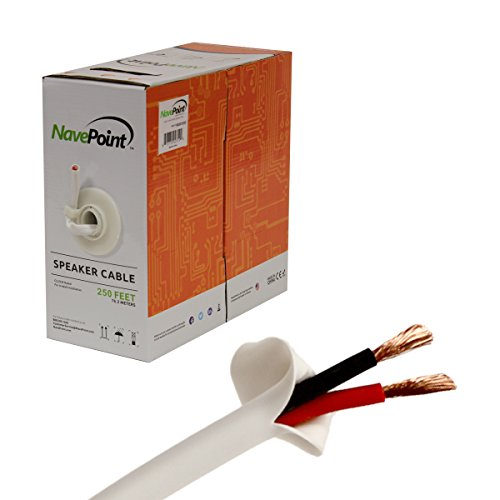 NavePoint 250ft In Wall Audio Speaker Cable Wire CL2 14/2 AWG Gauge 2 Conductor Bulk White -