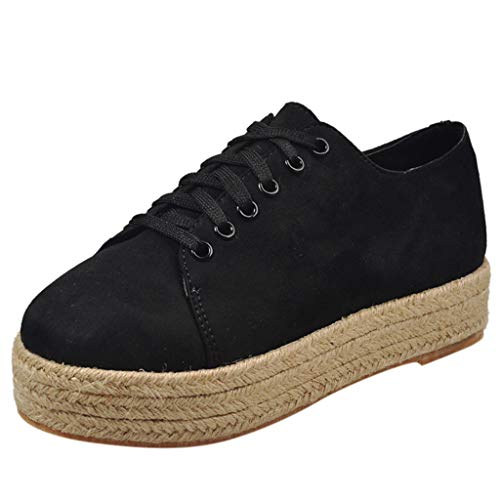 - Fheaven Women Casual Espadrilles Trim Flatform Studded Wedge Flat Shoes (7, Black)