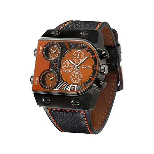 Oulm Mens Steampunk Skeleton Automatic Mechanical Alloy Stainless Steel Leather Watch CH164