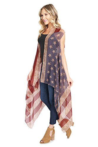 MYS Collection American Flag Cardigan - July 4th USA Stars and Stripes Pattern Lightweight Shawl Kimono Vest by MYS Collection (Image #1)