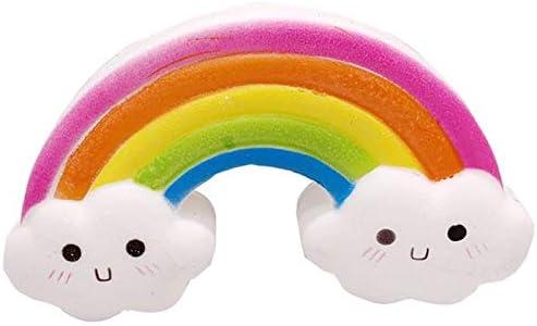 スローリバウンドのおもちゃ、巨大なスマイリーレインボー玩具リバウンドは、スローストレスリリース楽しいコレクションのために、シミュレーションパンソフトフレグランススクイーズ玩具ライズ (Color : Rainbow)