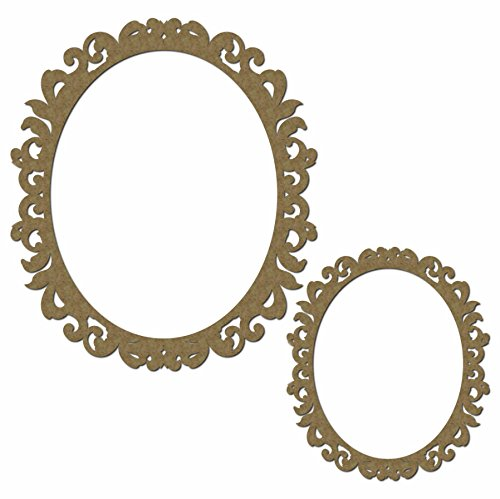 (Fancy Scrapbook Oval Frame - Laser Cut Chipboard - 2 Piece Set)
