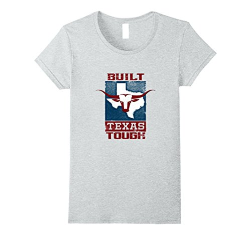 Womens Built Texas Tough State of Texas Flag Longhorn T-Shirt Medium Heather Grey (Texas Flag Tough)