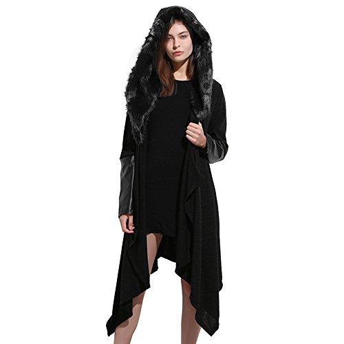 abrigo capa más mujeres de de Punto sintética panel piel con capucha de de del AIMEE7 las de larga Negro sólida costura Blusa Chaqueta tamaño Mujer la chaqueta manga 61q8wwz