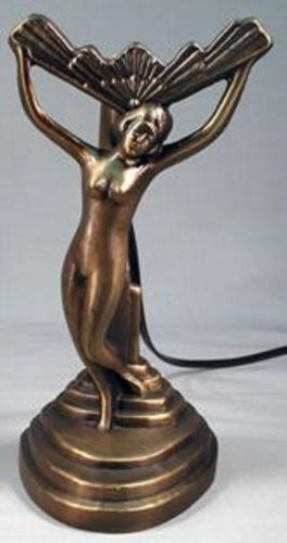 Nude Lady Fan Lamp Stepped Base Bronze Finish Art Deco