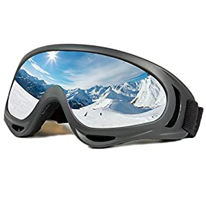 Ski Goggles Snowboard Adjustable UV Protective Motorcycle Goggles Outdoor Tactical Glasses Dust-proof Protective Combat Goggles Military Sunglasses Outdoor Activities Protective Glasses Black Goggle
