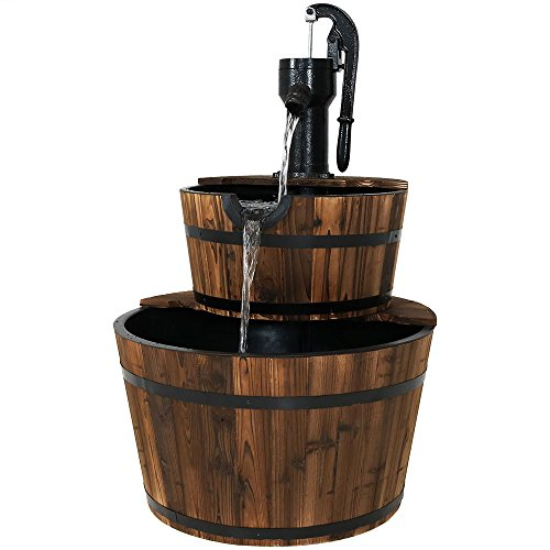(Sunnydaze Wood Barrel Outdoor Water Fountain with Hand Pump - 2-Tier Large Outside Cascading Waterfall Fountain Feature for Garden, Backyard, Patio, Porch, or Yard - Rustic, 37 Inch)