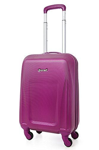 5 Cities Ultra Light ABS Hard Shell Hand Cabin Carry On Suitcase Luggage With Spinner Wheels - Fits American, United & Delta Airlines, Southwest and Virtually All UK and European Airlines, Purple