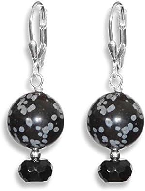 ERCE obsidiana nevada - ónix/onyx piedras semipreciosas pendientes, plata de ley 925