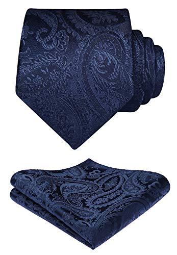 HISDERN Solid Paisley Tie Handkerchief Woven Men's Wedding Necktie & Pocket Square Set Navy