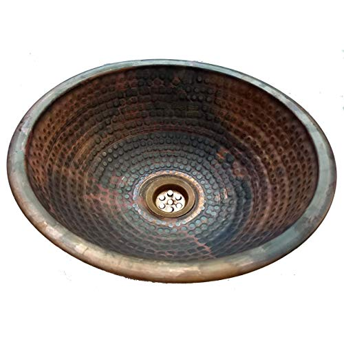 12 Inch Vessel Sink - 12 inches Rustic Top Mount Copper Bathroom Dome Sink