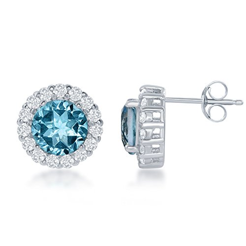 Sterling Silver Blue & White Topaz Circle Stud Earrings