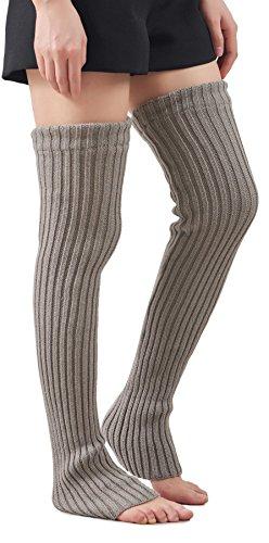 Leotruny Women's Winter Knee High Footless Socks Knit Leg Warmers (Light gray)