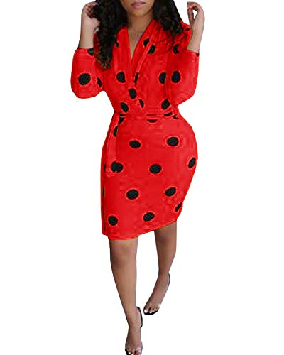 Beautife Womens Work Pencil Midi Dress Casual Summer Short Sleeve Party Dresses with Belt (Medium, 1-Red)